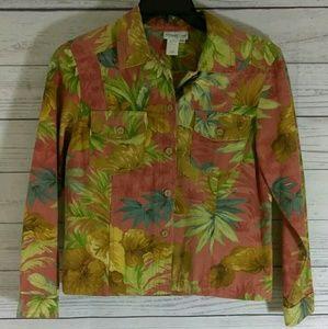 Coldwater creek denim floral denim jacket